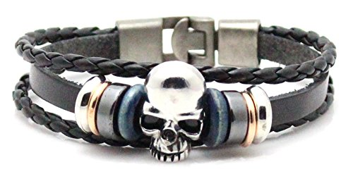 Fusamk Punk Alloy Bead Skull Leather Bracelet Bangle,7.5inches