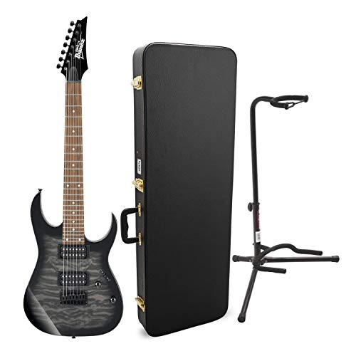 Ibanez GRG 7 String Solid-Body Electric Guitar with Knox Guitar Cable and Guitar Stand (3 Items)