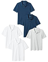 Amazon Essentials Boys'  5-Pack Short-Sleeve Pique Polo
