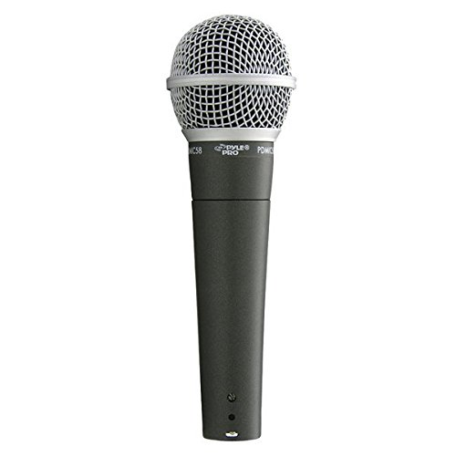 Pyle-Pro Professional Moving Coil Dynamic Cardioid Unidirectional Vocal Handheld Microphone Includes 15ft XLR Audio Cable to 1/4'' Audio Connection (PDMIC58) - The Singing Machine Microphone