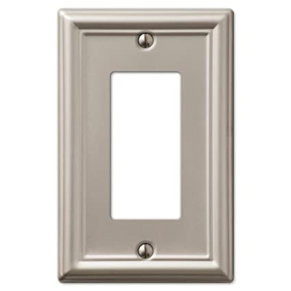 Decorative Wall Switch Outlet Cover Plates (Brushed Nickel, Rocker ...