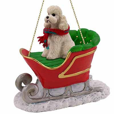 Poodle Sleigh Ride Christmas Ornament White Sport Cut - DELIGHTFUL!