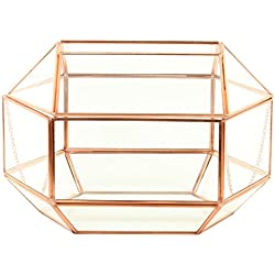 Koyal Wholesale Geometric Glass Wedding Card Gift Box Holder, Reception Drop Box, Modern Lantern Table Décor, Geometric Wedding Decor, Terrarium Planter (Rose Gold, 12 x 9-Inch)