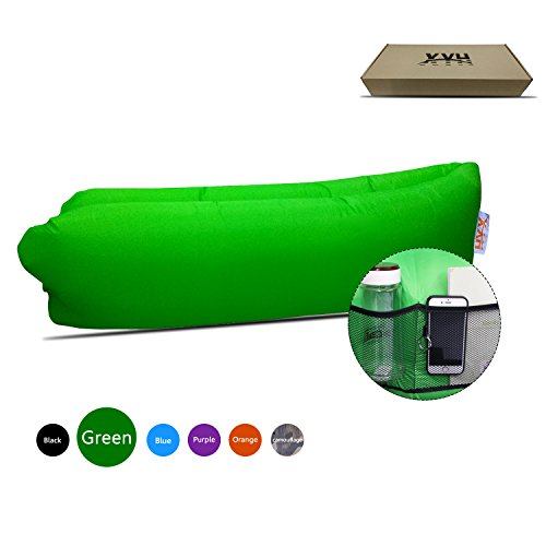 Inflatable Lounger Couch,Portable Blow Up Lounge Chair,Pool Air Hammock,Hangout Lazy Sofa ,Waterproof Wind Breeze Bean Bag,Fast Inflate Lounger for Beach,Camping. (G-Green)