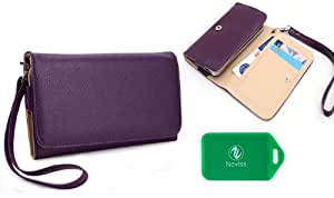 Sony Xperia M Smartphone Universal Ladies wristlet wallet in Purple Plus bonus Neviss luggage tag
