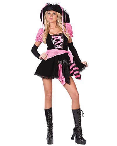 Pink Punk Pirate Costume - Small/Medium - Dress Size (Pink Punk Pirate)