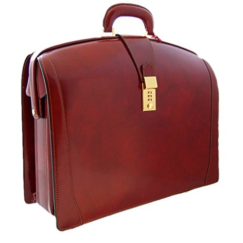 Pratesi Unisex Personalized Custom Initials Embossing Italian Leather Brunelleschi Grande Briefcase for Laptop in Cow Leather in Chianti