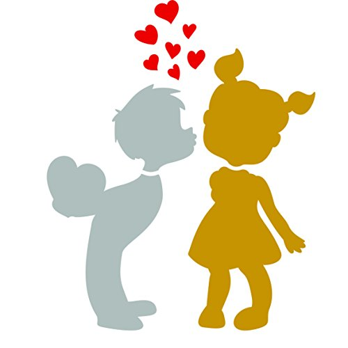 (Young Love Stencil - 6.5 x 8 inch (L) - Reusable Boy Girl Heart Kiss Wall Stencil Template - Zentangle on Cards Scrapbook Journal Paint Walls Floors Fabric Furniture Glass Wood etc.)