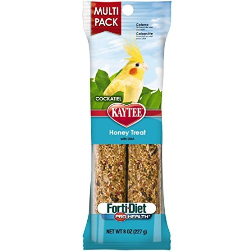 Treat Sticks 2 (Kaytee Pet Products BKT100502949 Forti-Diet Pro Health Honey Cockatiel Treat Stick Value Pack, 8-Ounce [2-Pack))