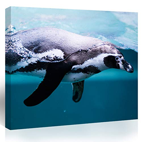 Purple Verbena Art Canvas Wall Art of Swimming Penguin Picture Home Wall Art Decor Ocean Animal Seascape Pictures Canvas Print Painting Artwork for Kitchen Bedroom Wall Decor 12x16 Picture Frame