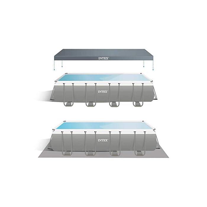 41NgrQlM44L Piscina elevada rectangular gama ultra xtr frame Intex , las medidas de la piscina son 549 x 274 x 132 cm y su capacidad es de 17.203 litros Incluye depuradora de arena con capacidad de filtración de 4.500 l/h y conexión de 38 mm (arena no incluida), escalera de seguridad, tapiz y cobertor Estructura tubular: piezas de acero resistente recubierto en interior y exterior con acabado epoxi y tapón de vaciado con conex ión a manguera de jardín