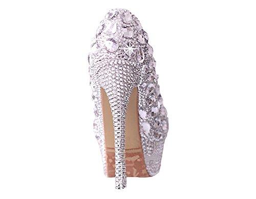Diamanthochzeitsschuhe Hoch mit rutschfester wasserdichte Schuhe Brautschuhe Hochzeitsschuhe Kleidschuhe Slipper 14cm hohen Absatz, 4cm wasserdicht