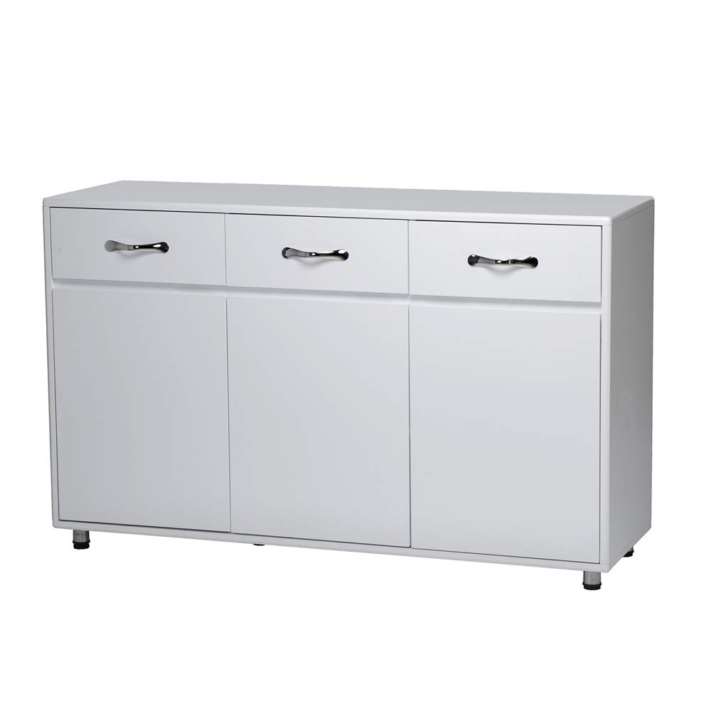 Office Side Cabinet,2 Drawers 2 Doors File Cabinet Storage with Round and Smooth Corner (White, 3 Drawers,3 Doors) by Ezbuyeveryday