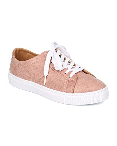 Women Leatherette Low Top Sneaker – Casual, Everyday, Lounge – Lace Up Sneaker – GD64 By Qupid – Blush (Size: 9.0)