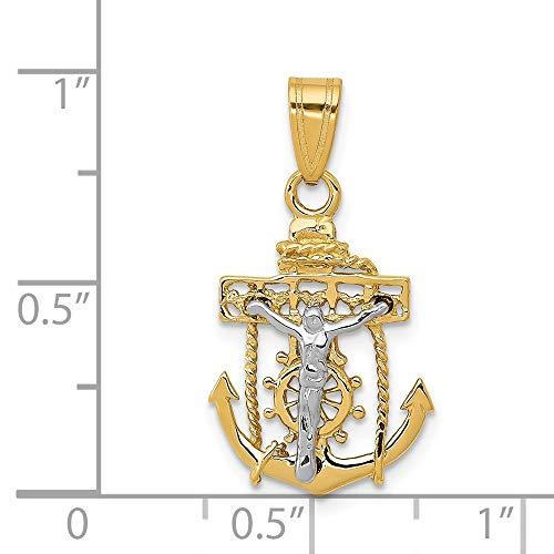 14k Two Tone Gold Mariners Cross Crucifix Pendant