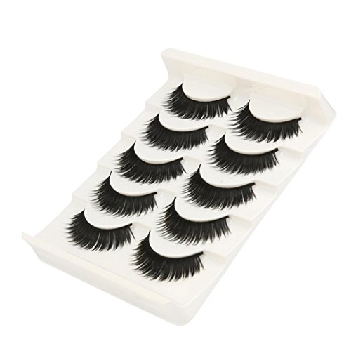 NewKelly Big sale! 5 Pair Fashion Natural Handmade Long False Black Eyelashes Makeup
