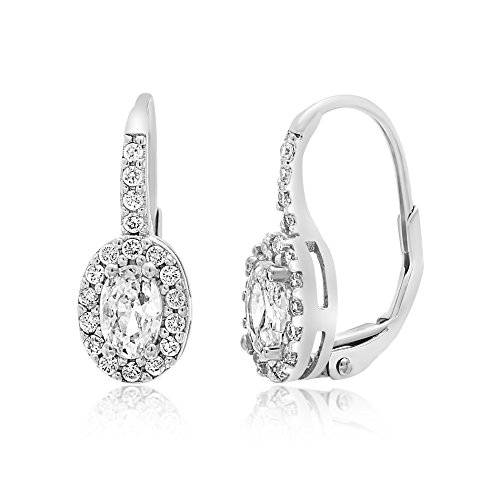 Lesa Michele Cubic Zirconia Oval Halo Style Leverback Earring in Sterling Silver by Lesa Michelle