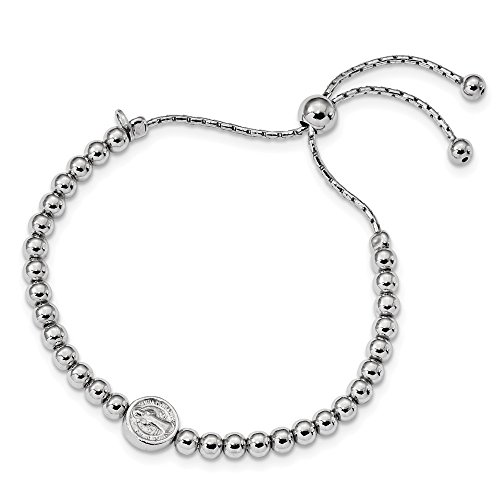 (925 Sterling Silver Beaded Saint Medal Pendant Charm Necklace 5 Inch To 8.25 Bracelet 9 Religious Adjustable Stretch Wrap Bead Beadsed Fine Jewelry Gifts For Women For Her)
