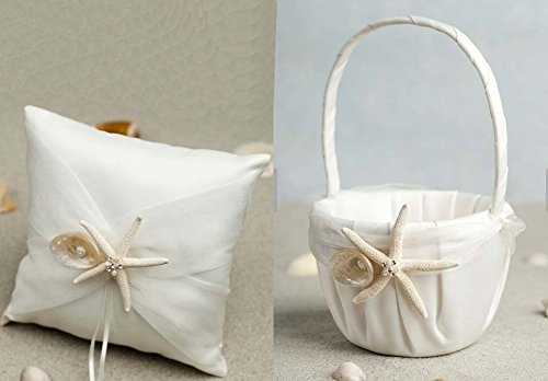 AllHeartDesires 2-Piece Set Beach Theme Ivory Wedding Ring Pillow Bearer Flower Girl Baseket with Starfish (Girl Theme)