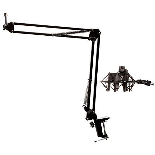 Elastic Suspension Shock Mount - Knox Microphone Suspension Boom Scissor Arm w Yeti Mic Shock Mount - Black
