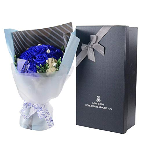 Forart 13Pcs Carnations Soap Flower Bouquet Artificial Flower Box Gift for Valentine's Mother's Day