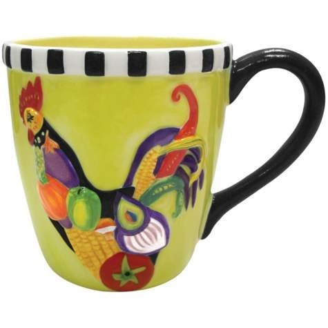 4 Inch Rooster Salad Decorated Collectible Rooster 14 Oz Mug Holds - Decorated Collectible Rooster