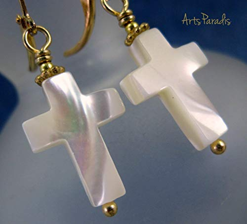 Small Sunday Natural Mother of Pearl Christian Cross and Goldtone Dangle Earrings by ArtsParadis