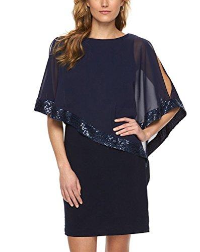 MILEEO Damen Chiffon Kleid Knielang mit Fledermausärmel Cocktailkleid  Elegant Pailletten kleid Blau F7ZJM 214a04dd1b