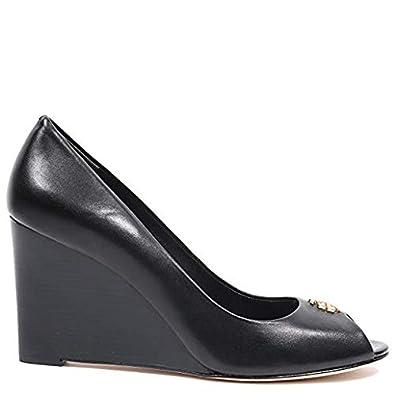 b71984dd10b Tory Burch Jolie 2 85MM Peep Toe Wedge Shoes 53871 Black (7.5)
