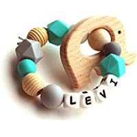 Personalized Teething Ring from Natural Wood and Silicone Beads for Baby Teether