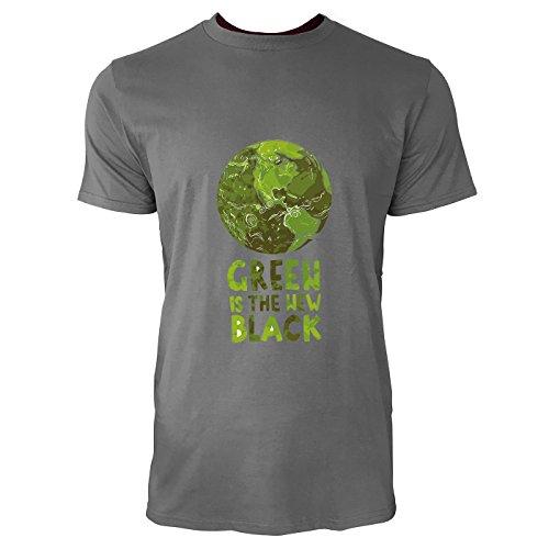 SINUS ART® Öko Desing Green Is The New Black Herren T-Shirts in Grau Charocoal Fun Shirt mit tollen Aufdruck