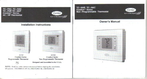 Carrier TC-NHP TC-NAC TC-PHP TC-NHP Thermostat Owner's Manual Installation Guide