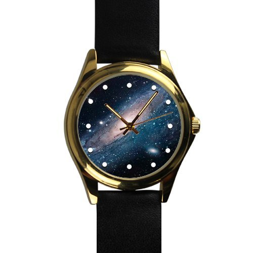 Special Design Rose Gold Space Nebula Universe Galaxy Pattern Unisex Silver-tone Round Metal Watch, Metal watch with black leather watchband by Nebula Watch