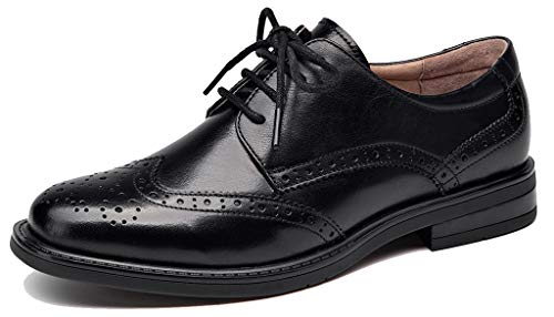 U-lite Women's Perforated Lace-up Wingtip Leather Flat Oxfords Vintage Oxford Shoes Brogues Black-2 8.5