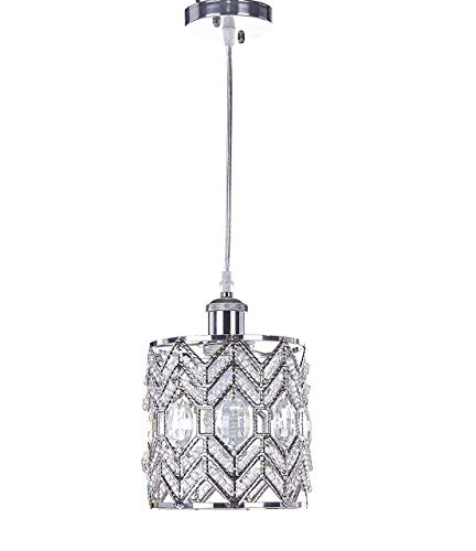- New Galaxy Lighting 1-Light Chrome Finish Modern Crystal Chandelier Pendant Hanging Lighting Fixture