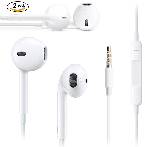 Extra Bass Earphones,Headphone/Earbuds with Stereo Mic and Remote, 3.55mm Jack compatible with Apple iPhone 4,5,5S, SE,6,6S, iPod, iPad Air/Mini, Samsung Galaxy, Tabs, Laptops, PC & Other Music Systems (2 Pack) A&B Traders
