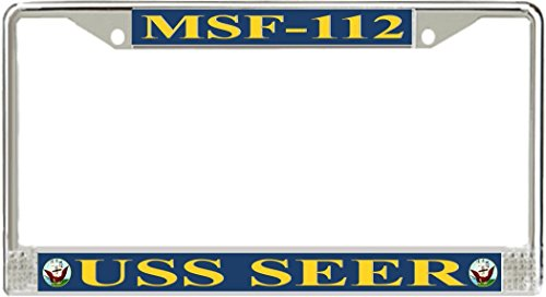 Vr Graphics Uss Seer Msf 112 Metal License Plate Frame   American Made   Made In Usa