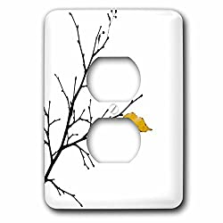 3dRose Alexis Photography - Autumn - Yellow linden tree leaf, white background - Light Switch Covers - 2 plug outlet cover (lsp_264254_6)