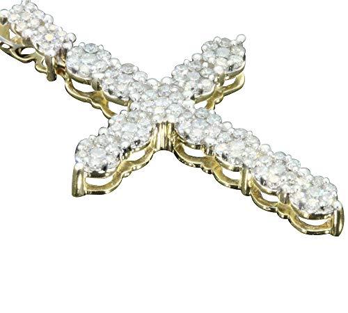 - 10k Yellow Gold Diamond Cross Pendant (0.9cttw, H-I Color, SI2-I1 Clarity) 1.5