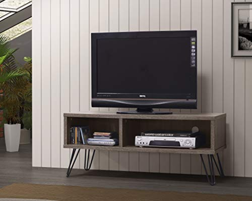 Weathered Grey Finish TV LCD Plasma Entertainment Center Stand with Two Open Storage Shelves