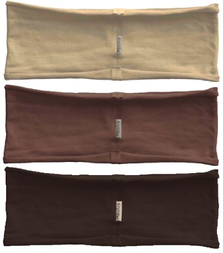 3-pack hBand Warm Earth-Tone stretchy headbands (dark chocolate, brown, beige) for yoga, exercise, sports or any activities by Absolute Yogi by Absolute Yogi