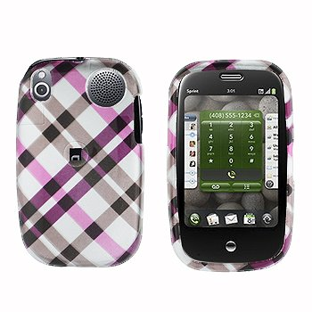 (Pink Cross Plaid Checker Snap on Hard Skin Cover Case for Palm Pre + Belt Clip)