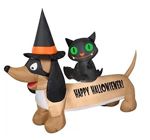 HALLOWEEN INFLATABLE 5' HAPPY HALLOWIENER DOG WITH BLACK CAT BY GEMMY (Cat Dog Halloween)
