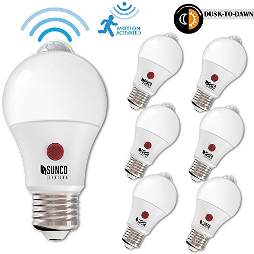 Sunco Lighting 6 Pack A19 Dusk to Dawn LED Light Bulb 9 Watt (60W EQ) 5000K Kelvin Daylight 800 LM, Indoor/Outdoor PIR/Motion Sensor Photocell Photosensor Auto ON/Off Security UL & Energy Star (Photocell Detector)