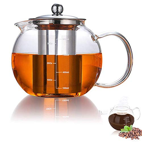 AUBBC Glass Teapot Has Scale Line with Stainless Steel Infuser (32oz/950ml), Stovetop Safe Glass Tea Kettle for Blooming and Loose Leaf Tea - Durable Borosilicate Glass - BPA Free