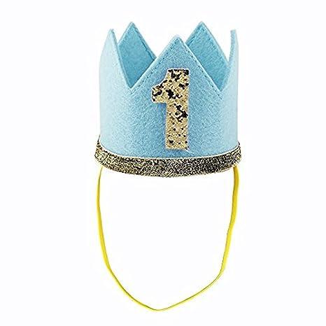 IMBSB 1ra fiesta de cumpleaños corona con números baby boy girl 1 año tocado de fiesta sombrero princesa príncipe corona accesorios de decoración ...