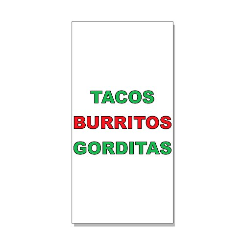 Tacos Burritos Gorditas Green Red Bar Restaurant Decal Sticker Retail Store Sign   4 5 X 12 Inches