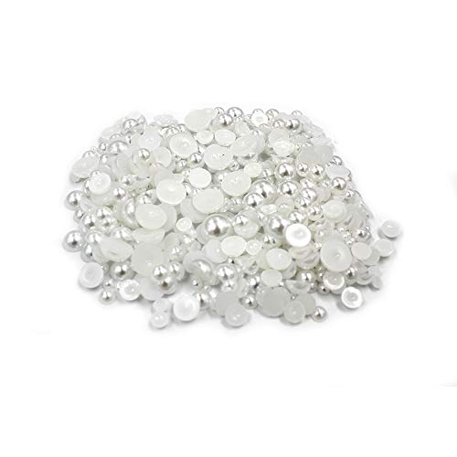 Wispun Mixed Size from 3mm to 8mm Mixed Sizes Craft ABS Resin Flat Back Pearl Cabochon Half Round Imitation Pearls Loose Beads ()