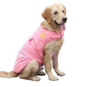 Fansport Dog's Windproof Waterproof Cotton Jacket Vest (Pink, 2XL)