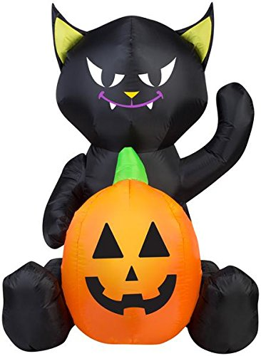 4' Airblown Cat with a Pumpkin Halloween Inflatable